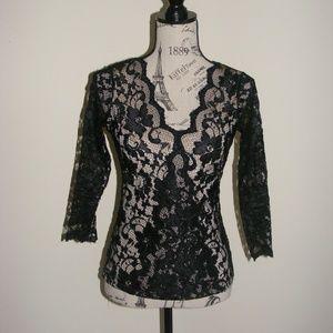 INC International Concepts Black Nude Lace Top
